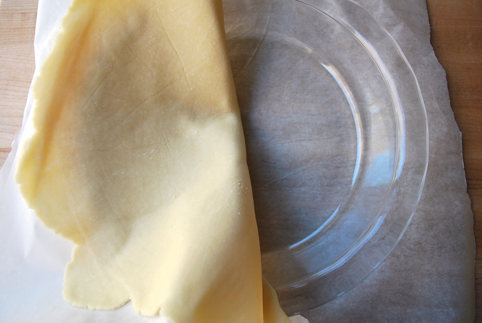 Fold in dough into pie plate.