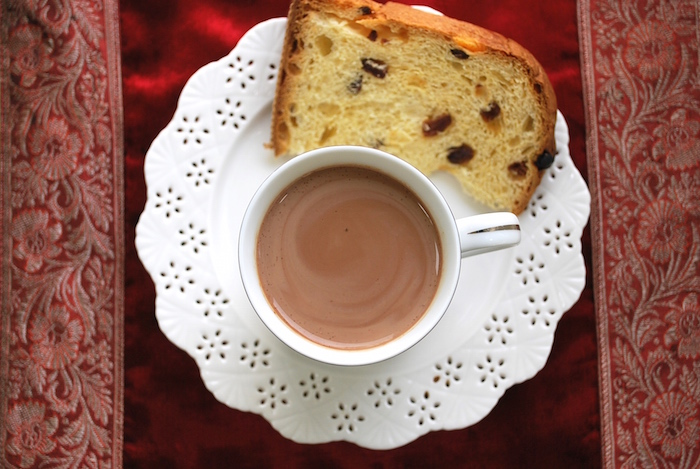Peruvian Hot Chocolate with a slice of Panettone.