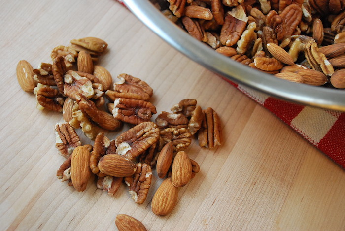Pecans, almonds, and walnuts.