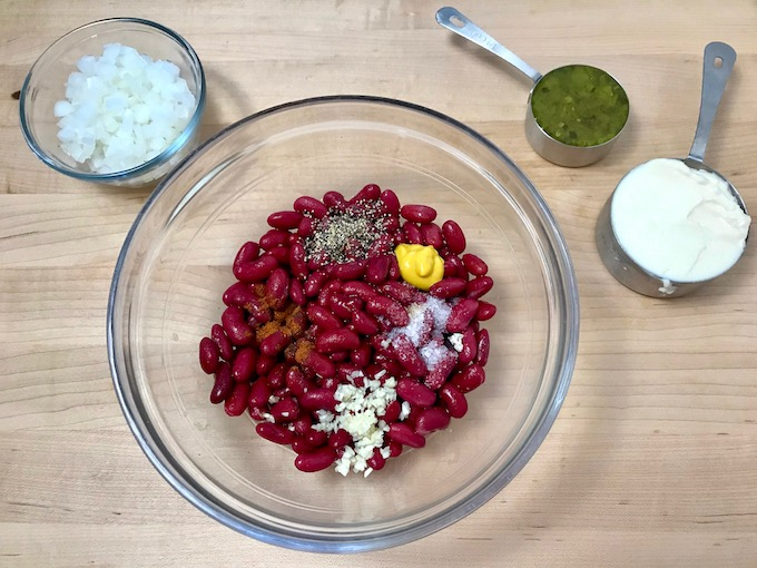 Ingredients for New England bean dip.
