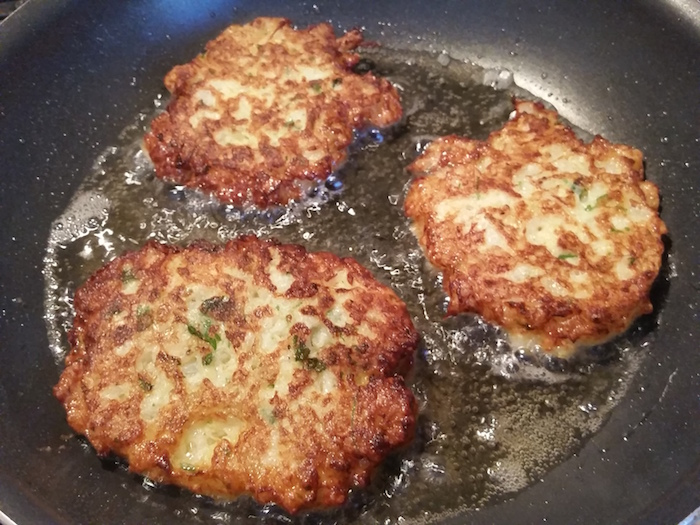 Golden brown cauliflower pancakes