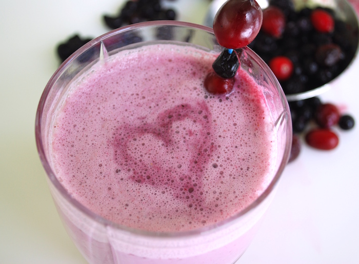 blue cranberry smoothie heart