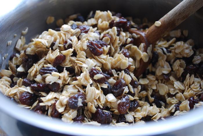 Combine butter, oats, and raisins