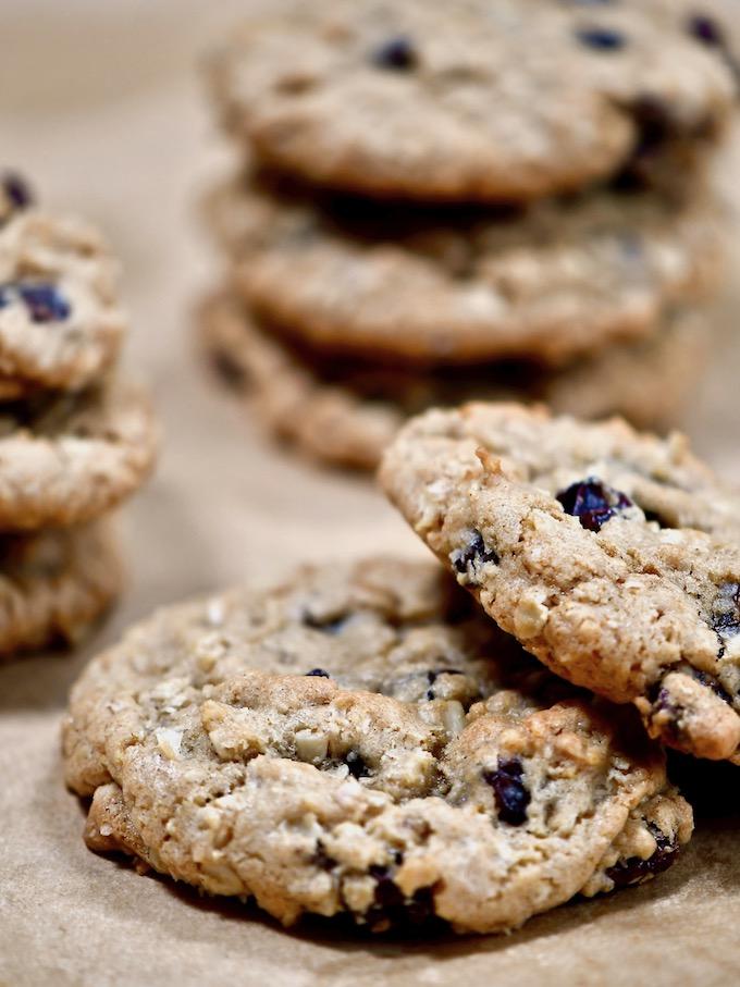 Stacks of oatmeal raisin cookies.