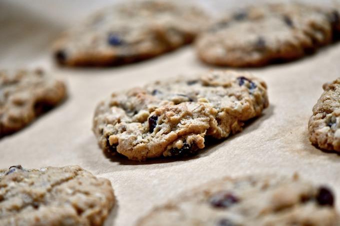 Baked oatmeal raisin cookies on baking sheet.