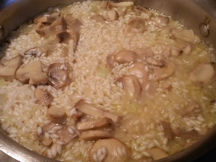 risotto after adding stock