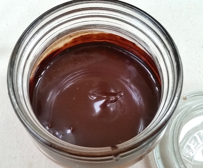 chocolate syrup in mason