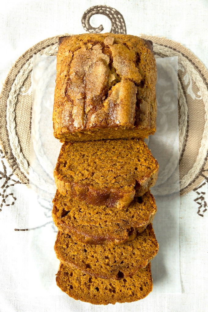 Perfect pumpkin bread sliced.