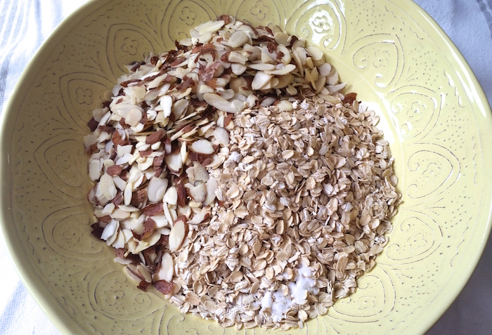 Sliced almonds, oats, and salt...