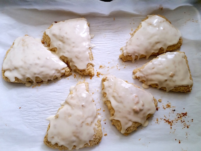 Iced maple scones.