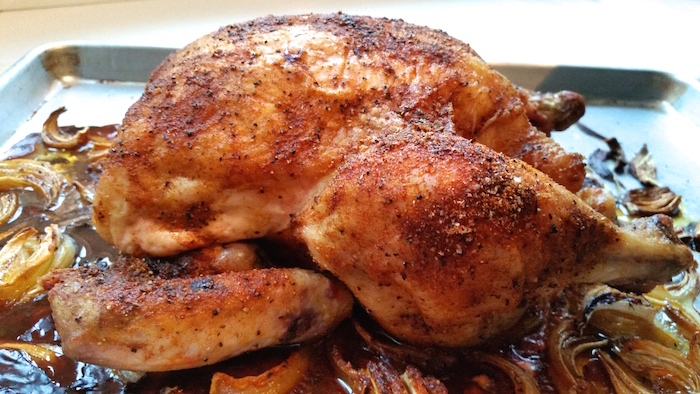Slow Roasted Chicken - slow roasted for 3 hours. The skin melds with the meat and the meat is so juicy it falls off the bone. Makes an incredible easy meal.