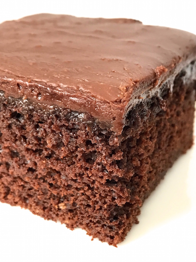 It's daring to declare something as being the ultimate, but I'm confident in my statement. Creamy chocolate icing is poured over warm chocolate cake creating a thin layer of fudge where they both meet. It's heaven on a plate.