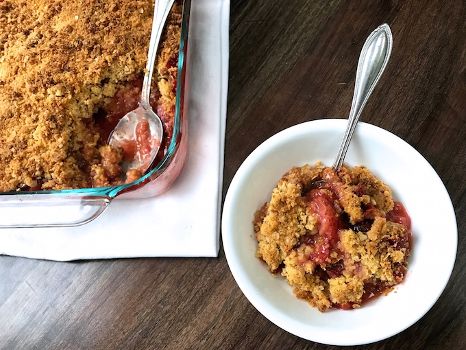 Deliciously sweet and tart Strawberry Rhubarb Crisp enhanced with 2 secret ingredients delivering intensified flavor in filling and added crunch in topping. Simply the best.