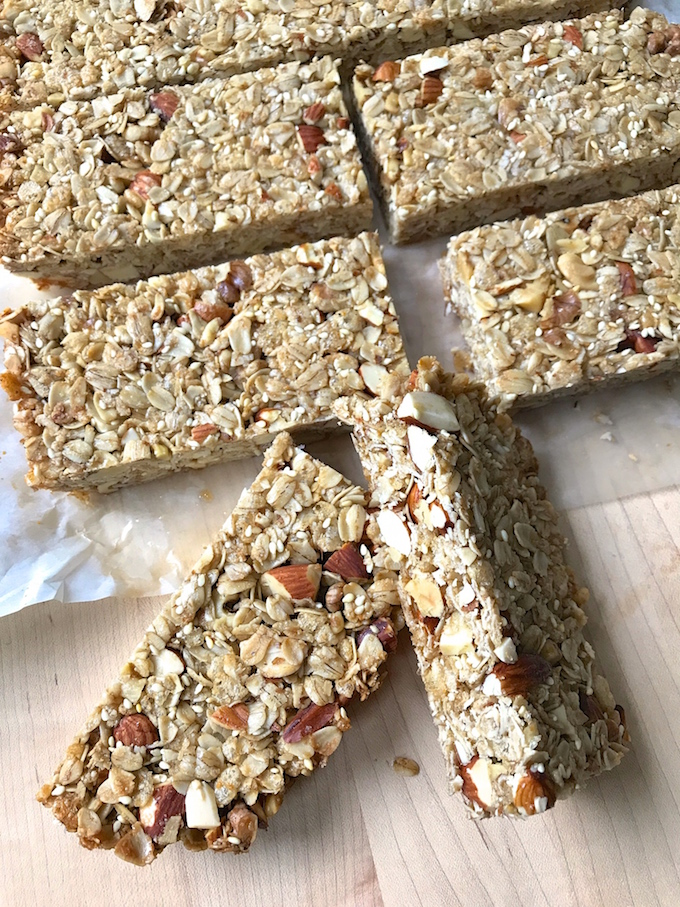 Honey Nut Granola Bars are a great snack any time of day. Crunchy, nutty, and sweetened just enough to hold together and taste delicious. Makes a perfect portable breakfast or snack.