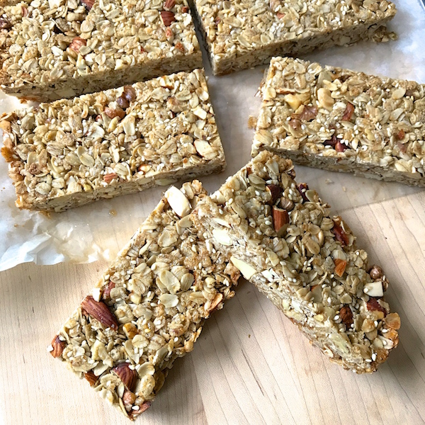 Honey Nut Granola Bars are a great snack any time of day. Crunchy, nutty, and sweetened just enough to hold together and taste delicious.