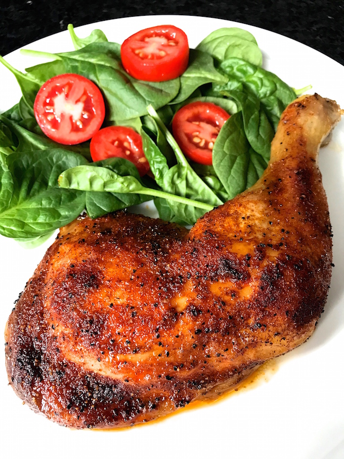 Roasted Chicken Leg Quarter with salad