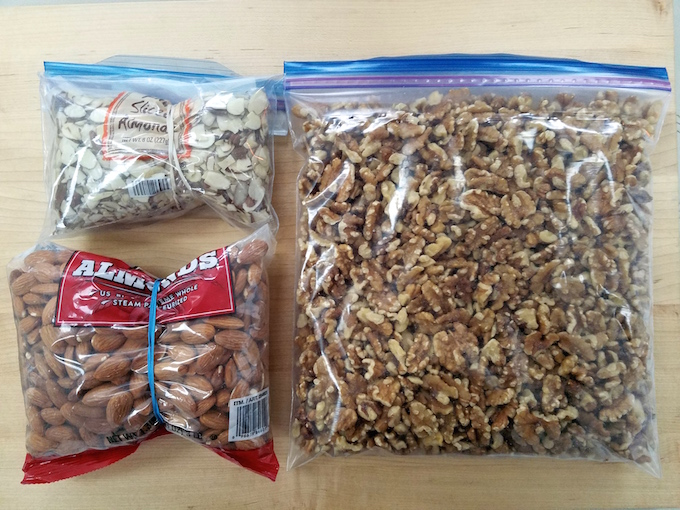 Three bags of nuts ready for freezing.