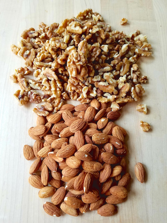 Walnuts and almonds on board