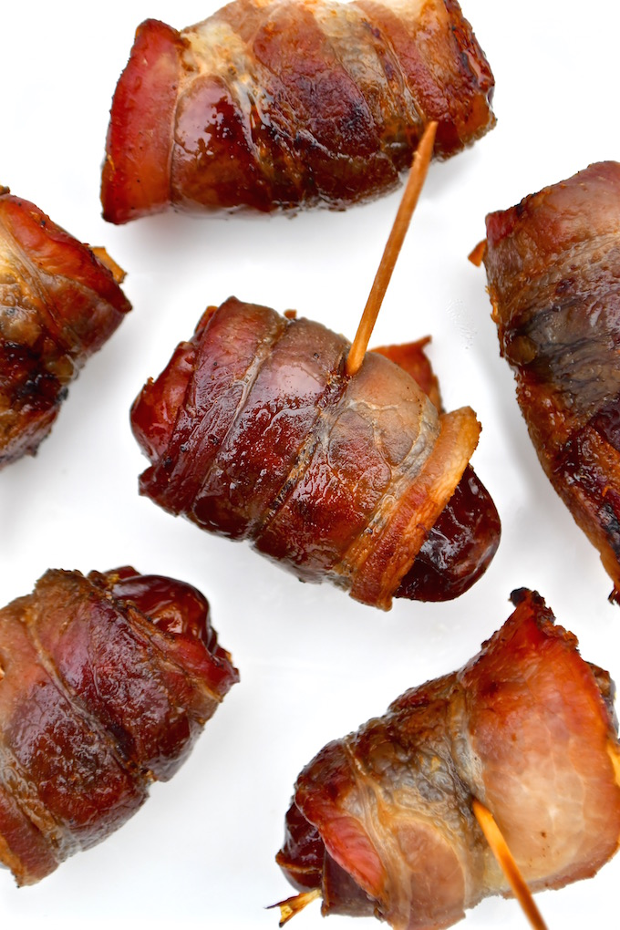 Bacon wrapped Dates with almonds.