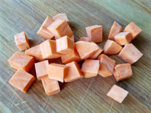 "1/2"" cubes of sweet potatoes."