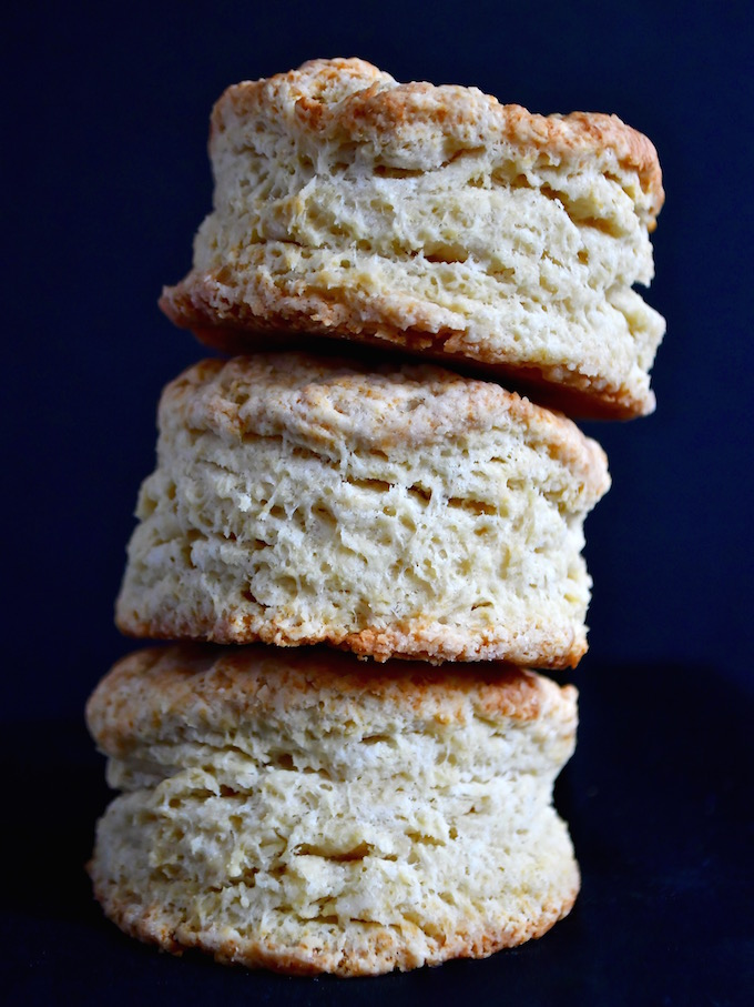 Heavenly Buttermilk Biscuits stacked.