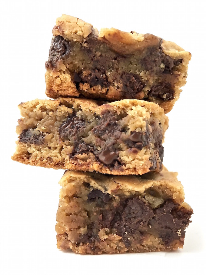 A stack of gooey blondies.
