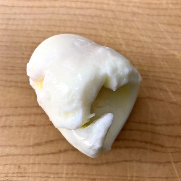 A strange looking hardboiled egg.
