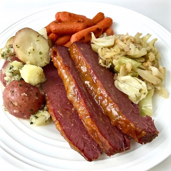Plated corned beef and cabbage.