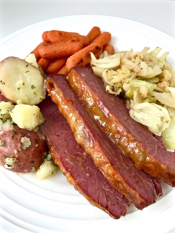 Corned Beef and Cabbage plated.