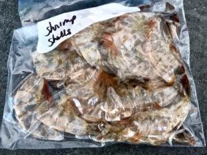 Shrimp shells in freezer bag.