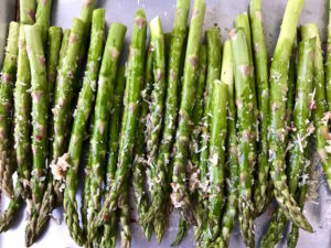 Roasted Asparagus with Parmesan ready to bake.