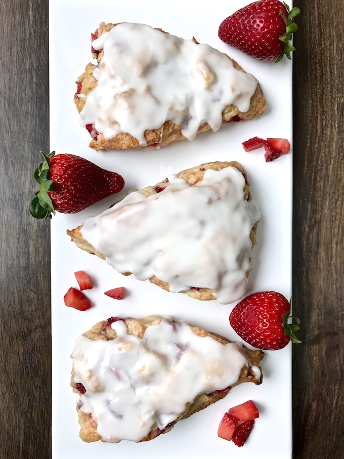 Strawberry Cream Scones 3 on a dish.