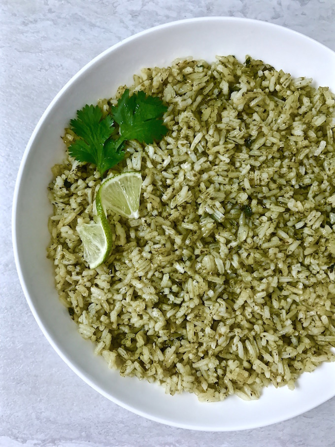 Bowl of cilantro lime rice.