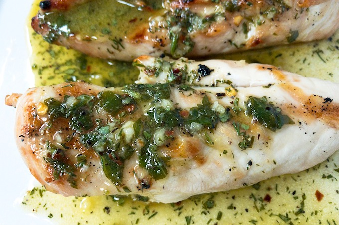 Closeup of lemon herb chicken breasts.