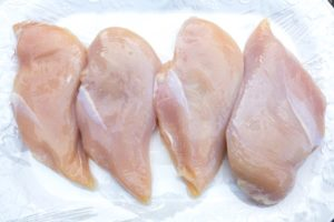 Brined chicken breasts.