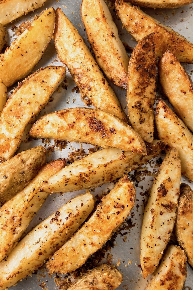 Parmesan roasted potato wedges.