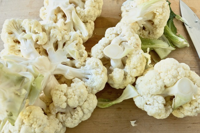 Cauliflower cut into florets.