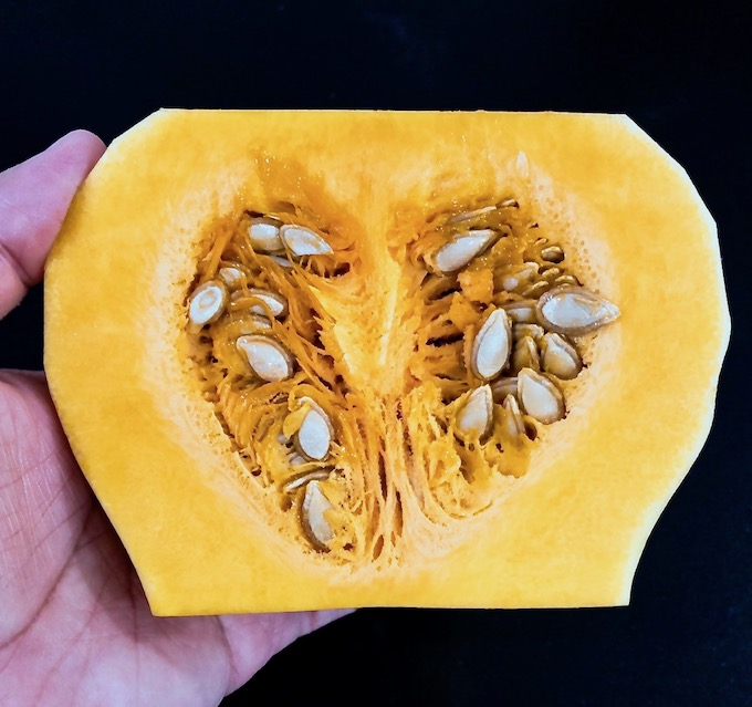 Picture of butternut squash halved showing the seeds.