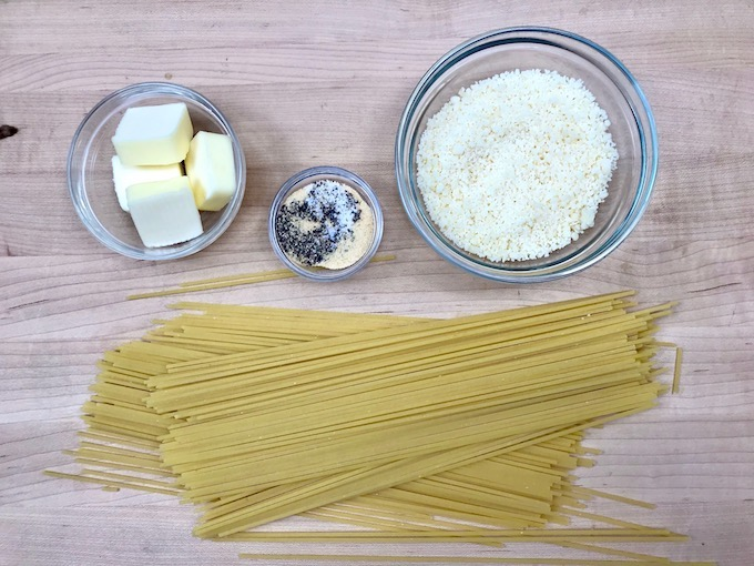 Ingredients for Spaghetti with Garlic Butter and Cheese.