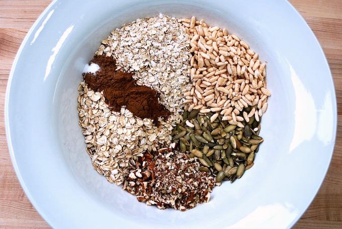 Ingredients for pumpkin spice granola.