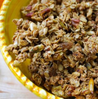 A bowl of pumpkin spice granola.