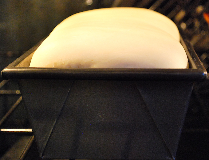 Risen dough in a pan.