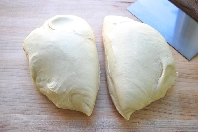 Dividing the dough into two.