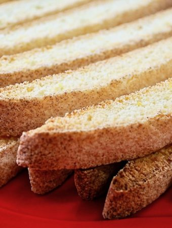 Closeup of anisette toasts.