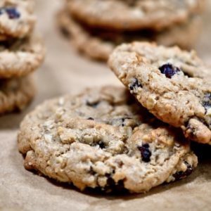 Square image of oatmeal raisin cookies.