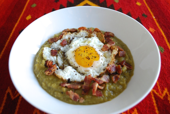 Split Pea Soup with Bacon and Egg
