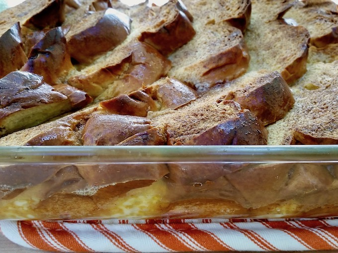 Puffed up baked French toast casserole.
