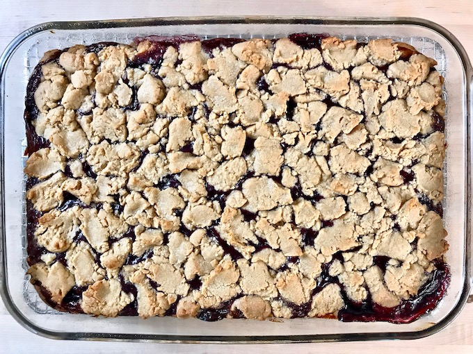 Peanut butter and jelly bars baked.