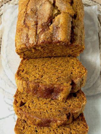 Perfect pumpkin bread sliced.
