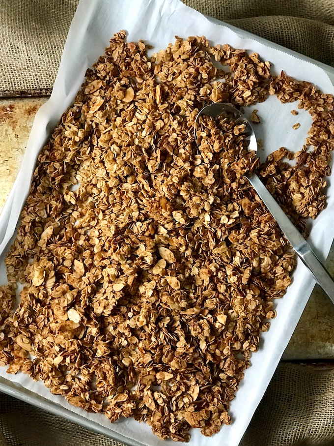 A baking sheet of baked easy homemade granola.